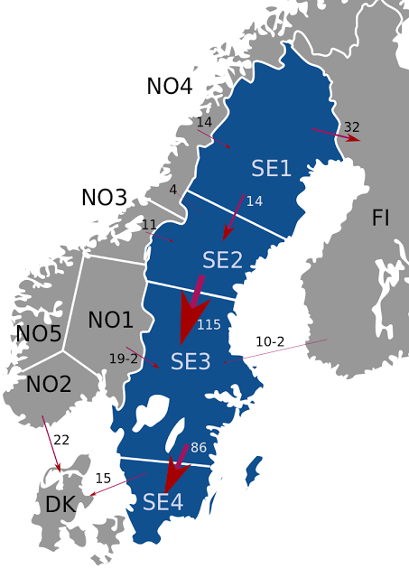 Ruotsin hinta-aluejako alentaa sähkön hintaa Suomessa