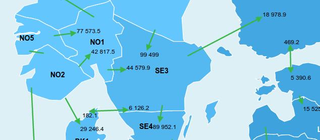 Pohjois-Skandinavian sähkö virtaa Norjaan päin